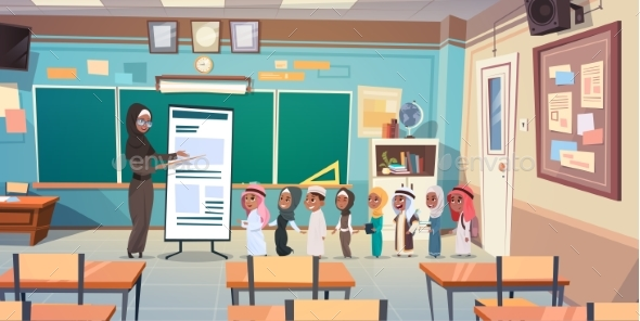 Group of Arab Pupils With Teacher in Classroom - Miscellaneous Vectors