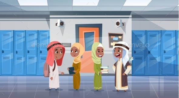 Group of Pupils Walking in School Corridor - People Characters