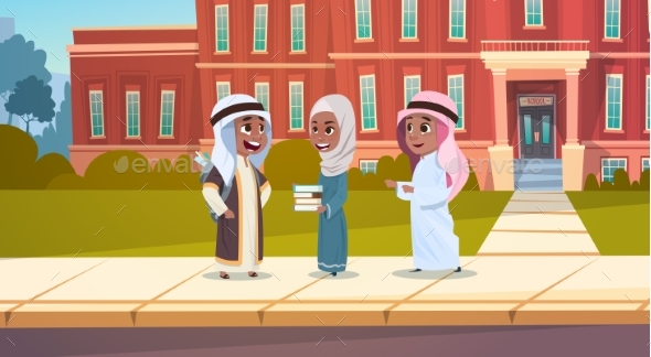 Group Of Arab Pupils Stand In Front Of School - Miscellaneous Vectors