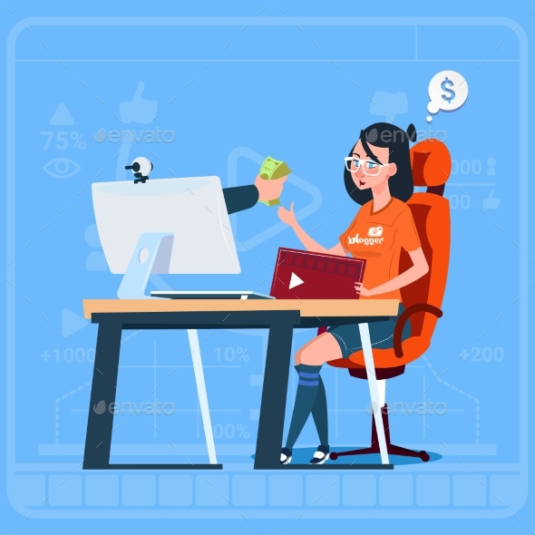 Girl Blogger Sit At Computer Streaming Video Blogs - Technology Conceptual
