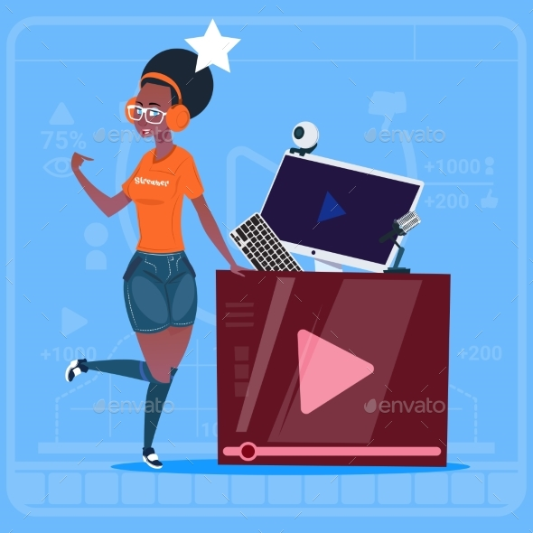 GraphicRiver African American Girl Over Vlogger Channel Screen 20337692