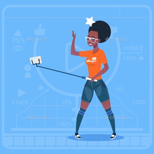 African American Girl Stream Modern Video Blog - Technology Conceptual