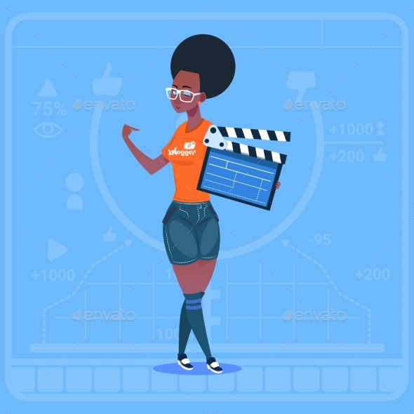 GraphicRiver African American Girl Holding Clapperboard Modern 20337700