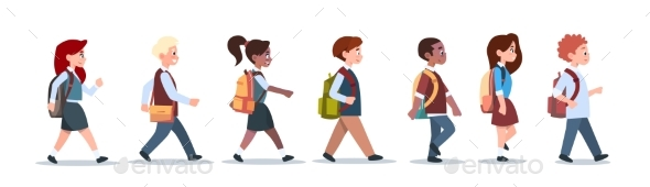 Group of Pupils Mix Race Walking School Children - People Characters