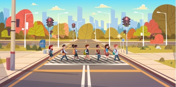 GraphicRiver Group Of School Children Crossing Road 20337776
