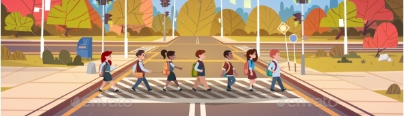 GraphicRiver Group Of School Children Crossing Road 20337781