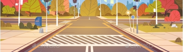 GraphicRiver Road Empty City Street With Crosswalk And Traffic 20337782