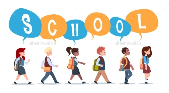 Group of Pupils Mix Race Walking Back To School - People Characters