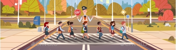 Policeman Guard Helps Group of School Children - People Characters