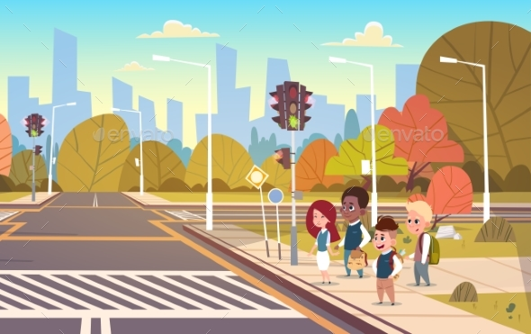 GraphicRiver Group of School Children Waiting for Green Traffic Light 20337805