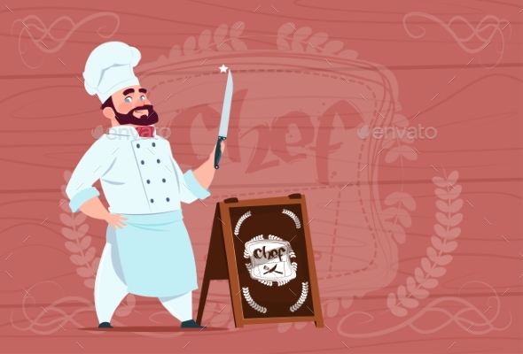 Chef Holding Knife Smiling Cartoon Character - People Characters