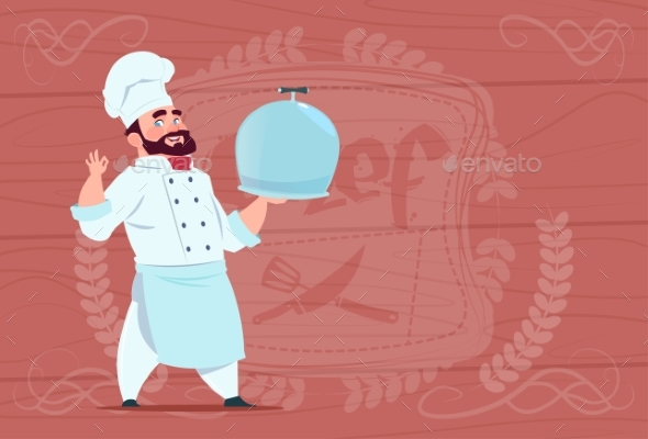 Chef Holding Tray With Dish Smiling Cartoon - People Characters