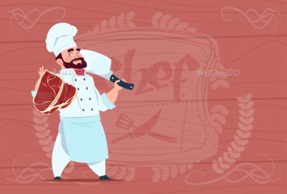 Chef Holding Cleaver Knife and Meat Smiling - People Characters