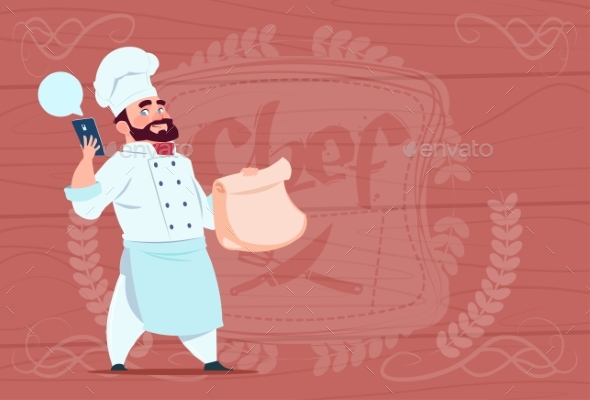 GraphicRiver Chef Holding Packet with Food and Mobile 20337828