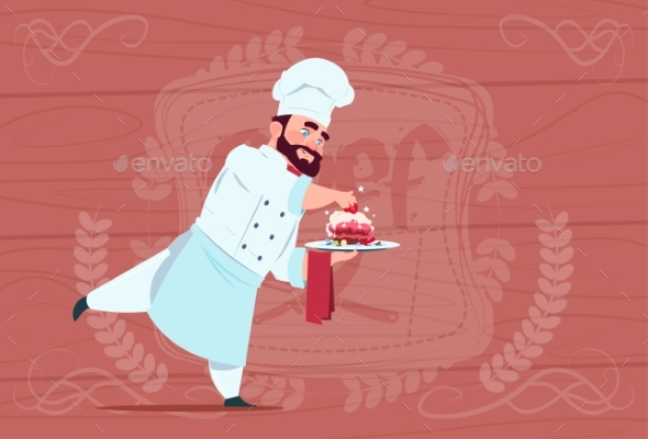 GraphicRiver Chef Holding Dessert Dish Smiling Cartoon 20337835