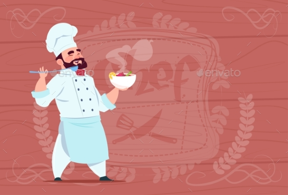 GraphicRiver Chef Holding Plate With Hot Soup Smiling 20337838