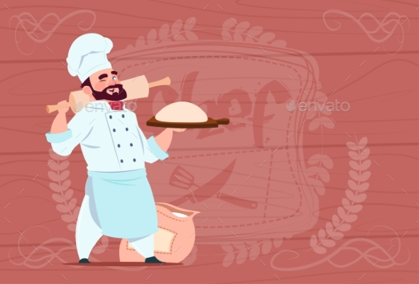 Chef Holding Flour and Dough Smiling Cartoon - Food Objects