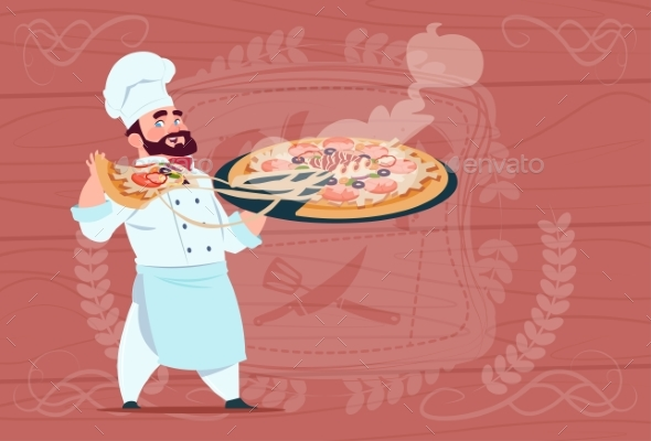 GraphicRiver Chef Cook Holding Pizza Smiling Cartoon Chief 20337842