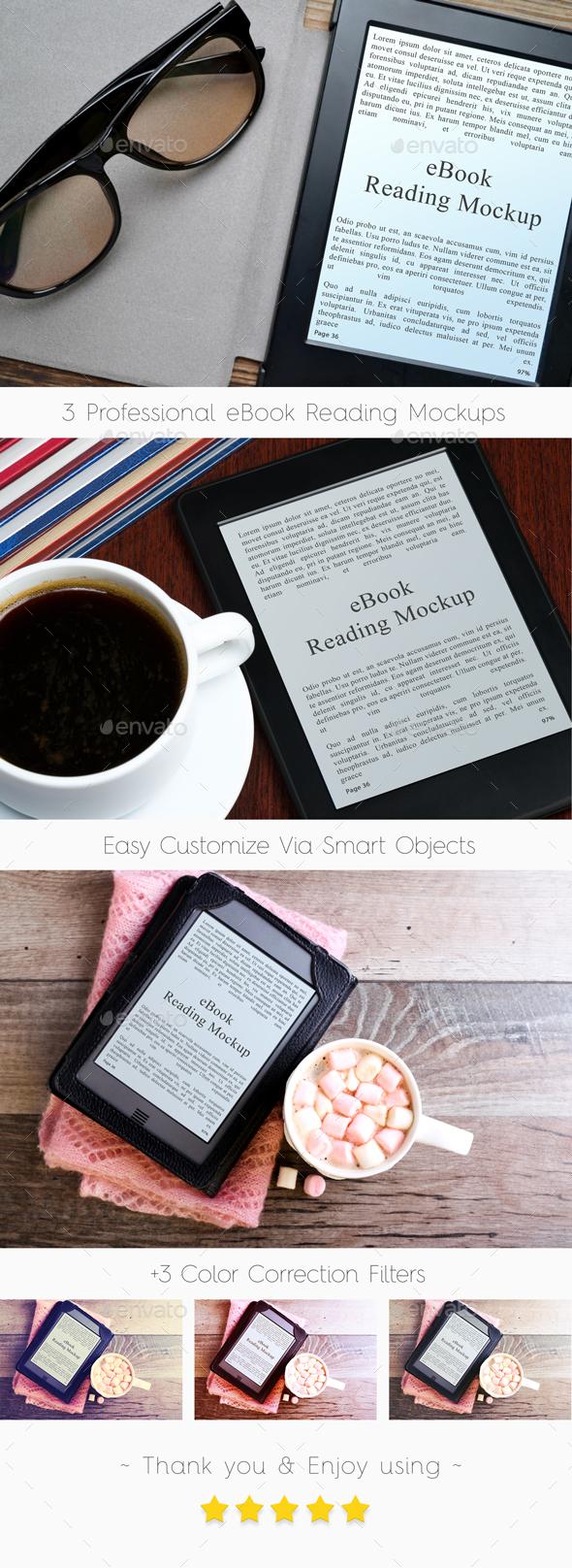 Professional eBook Reading Mockups (Electronic Book) - Mobile Displays