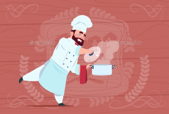 GraphicRiver Chef Cook Holding Saucepan with Hot Soup Smiling 20337854
