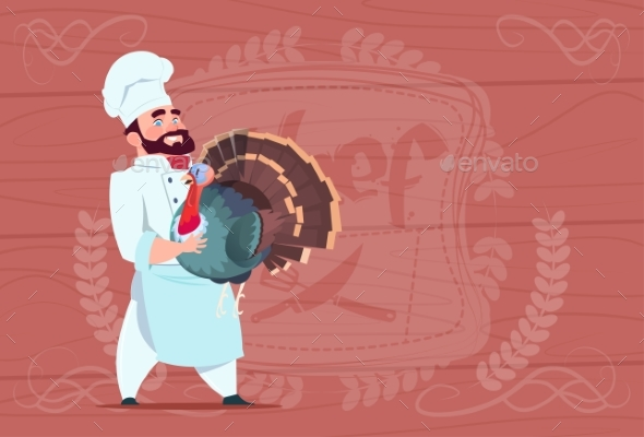 Chef Holds Turkey Smiling Cartoon Restaurant - Miscellaneous Vectors