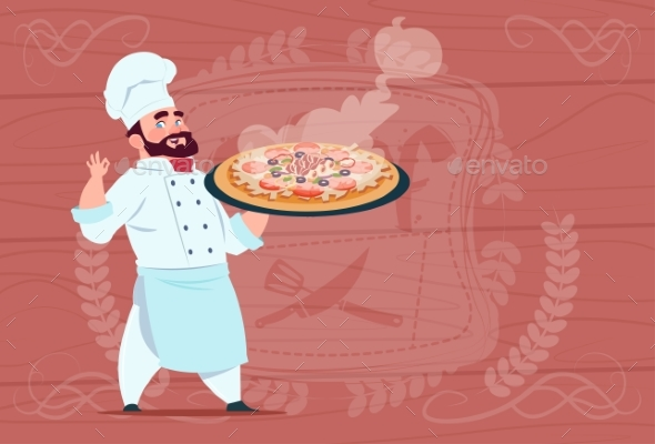GraphicRiver Chef Holding Pizza Smiling Cartoon 20337860