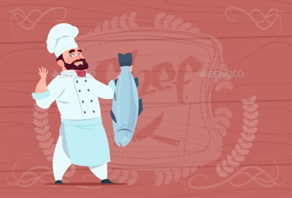 Chef Holds Fish Smiling Cartoon - Food Objects