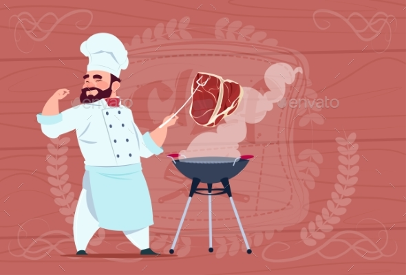 Chef Cook Grill Meat On Bbq Cartoon Restaurant - Miscellaneous Vectors