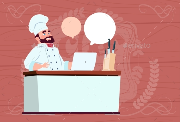 Chef Working at Laptop Computer Cartoon - Miscellaneous Vectors
