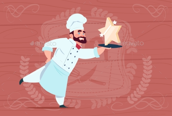 GraphicRiver Chef Holds Star Award Smiling Cartoon 20337880