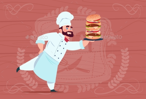 Chef Holds Big Burger Smiling Cartoon - Food Objects