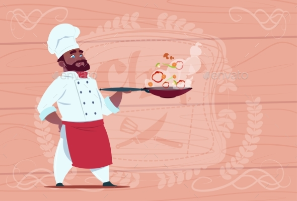Chef Holding Frying Pan - Miscellaneous Vectors