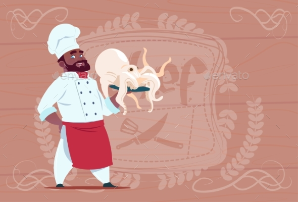 Chef Holds Octopus Smiling - Miscellaneous Vectors