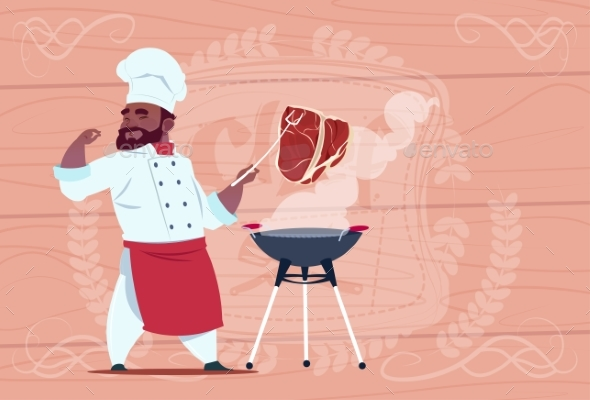 African American Chef Cook Grill Meat On Bbq - Miscellaneous Vectors