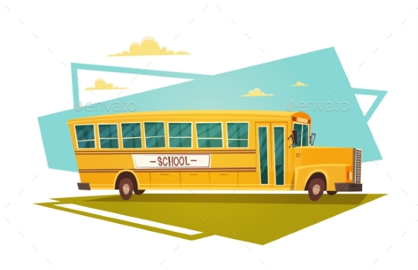 Yellow Bus Riding Back To School 1 September - Miscellaneous Vectors