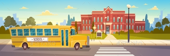 GraphicRiver Yellow Bus In Front Of School Building Pupils 20338064