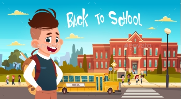 Boy Going Back To School Over Group Of Pupils - Miscellaneous Vectors