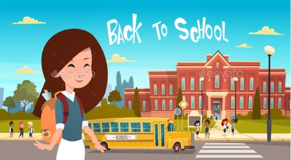 Girl Going Back To School Over Group Of Pupils - Miscellaneous Vectors