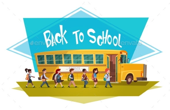 Pupils Group Walking to Yellow Bus Riding Back - Miscellaneous Vectors