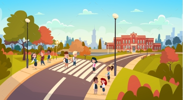 Group of Pupils Walking on Crosswalk Mix Race - Miscellaneous Vectors