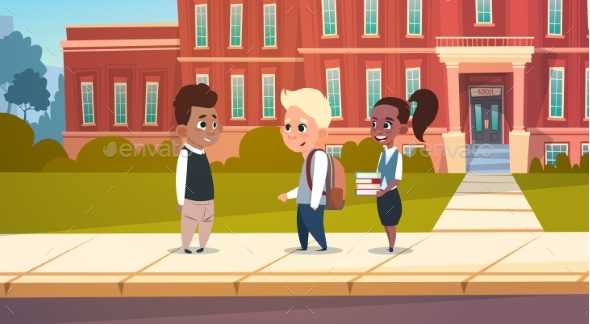Group of Pupils Mix Race Stand in Front of School - Miscellaneous Vectors