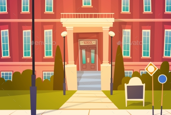 Modern School Building Exterior - Miscellaneous Vectors