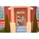 Boy Opening School Door