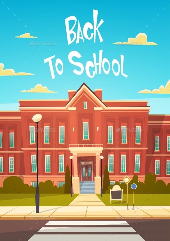 Back to School Modern Building Exterior Education - Miscellaneous Vectors