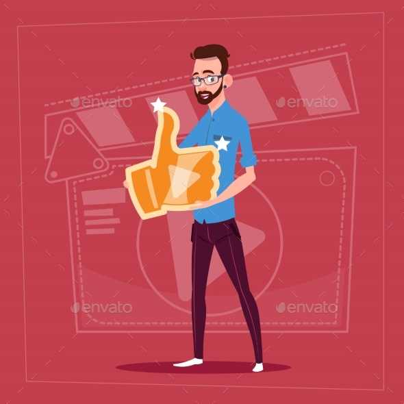 GraphicRiver Man Holds Thumb Up Modern Video Blogger 20338210