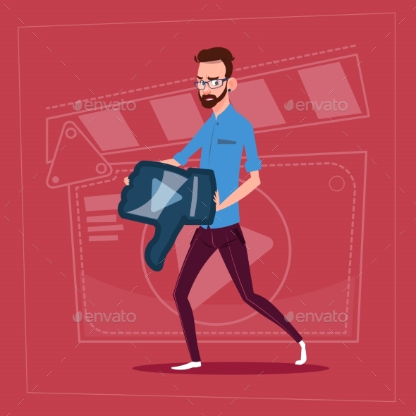 GraphicRiver Man Holds Thumb Down Modern Video Blogger 20338212