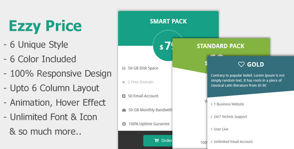 Ezzy Price - Responsive  Pricing Tables