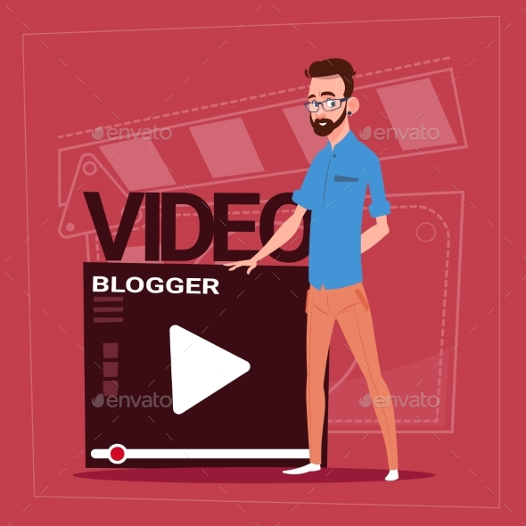 GraphicRiver Man Over Vlogger Channel Screen Modern Video 20338218
