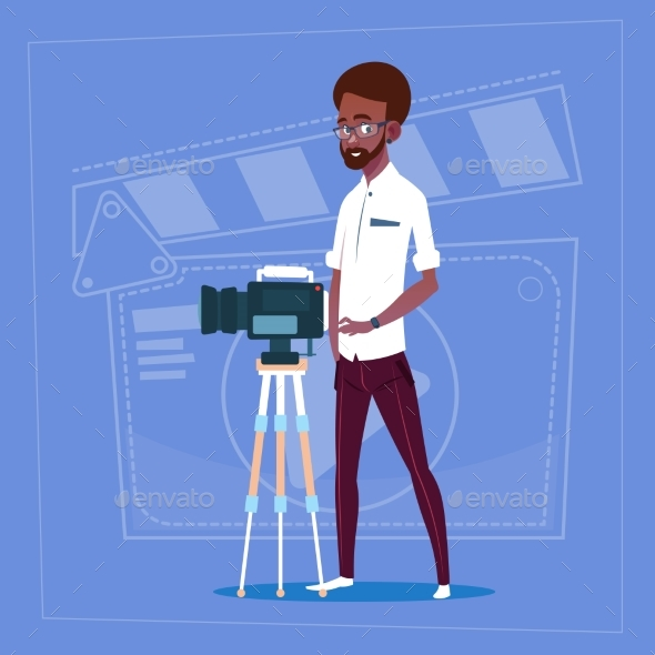 GraphicRiver Man Holding Camera on Tripod 20338229