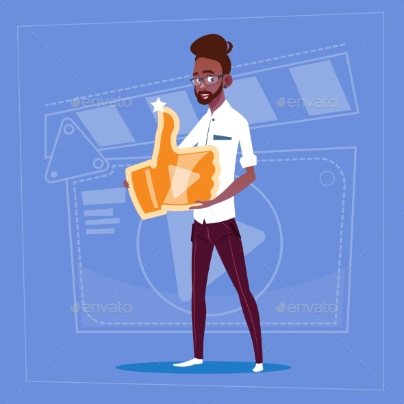 GraphicRiver Man Holds Thumb Up Modern Video 20338231